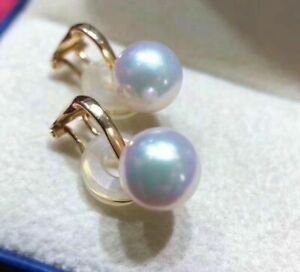 biggest 9-9.5mm Tennyo Japanese akoya saltwater pearl Ear clip 18k Japan order