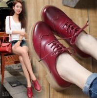 2017 New Womens British Lace Up Casual Shoes Brogues Wingtip Oxfords Vintage