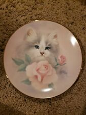 Blushing Beauties Petals And Purrs Porcelain Cat Plate Signed Bob Harrison 8 1/2