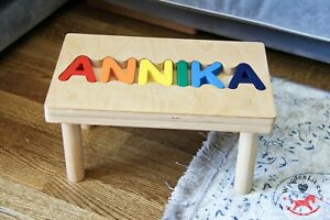 Pikler Montessori Wooden Step Stool Chair with Personalized Puzzle Name for Kids