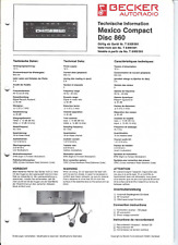 Becker Original Service Manual für Mexico 860 compact disc
