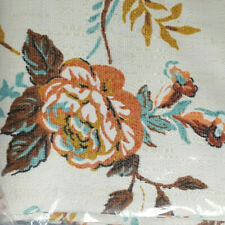 """Vintage New Drapes Thermal Lined 1pr Floral Pinch Pleat Ivory Blue Peach 48""""X84"""""""