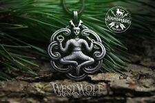 Celtic Cernunnos the Forest God Pendant / Amulet -- Celt/Medieval/Silver/Jewelry