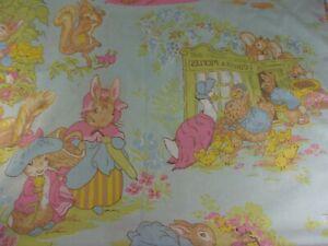 Vtg Peter Rabbit Beatrix Potter F Warne Co Easter Flat Twin Bed Sheet