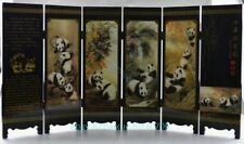 Collectible China Old Handwork Wood Painted Lovely Panda Folding Screen b02