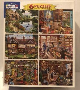 White Mountain Steve Crisp Americana Multi Pack 6 in 1 Jigsaw Puzzles SetLot