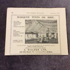 Vintage Advertisement -Marquee Tent Hire - Australia - 1923