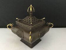 Chinese Brass/Bronze Incense Burner Square Pagoda-Lotus Flower Mark.       #1876