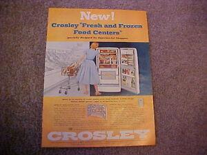 1956 CROSLEY Duo-Shelvador Refrigerator--nice full-color LARGE vintage 56 ad
