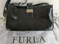 "FURLA Patent Leather Shoulder Bag Hand Bag Pouch  11""x 6""x 2,7"""