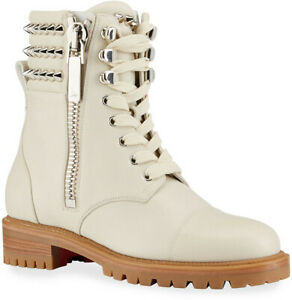 Christian Louboutin Winter Spikes Leather Combat Boots Lug Sole Eur 40/ US 10