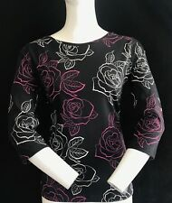 BNWT ARMANI  Fantasia Nero Crew Neck Floral Print Top Size 44 SAVE £34.00!!