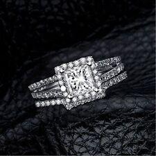 2 PCS Fashion Rhinestone Crystal Silver Plated Wedding Jewelry Ring Set