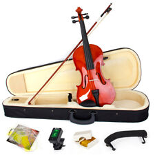 Violin 4/4 Full Size Natural Acoustic Fiddle Case Bow Shoulder Rest Tuner Violin