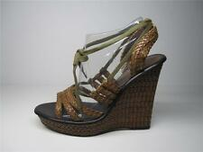 SIREN RRP$159.95 OPEN TOE WEDGE PLATFORM WOMEN LADIES SHOES BROWN LEATHER 9