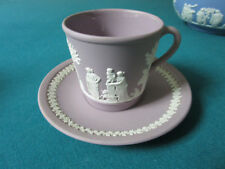WEDGWOOD PURPLE LILAC JASPERWARE COFFEE CUP AND SAUCER  [*77C]