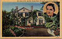 Vtg 1940 Home Of Tyrone Power Actor Brentwood California CA Postcard