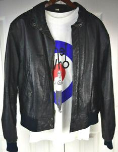 Vtg Willsons Suede & Leather Black Biker Bomber Jacket M/L Kurt Cobain Style