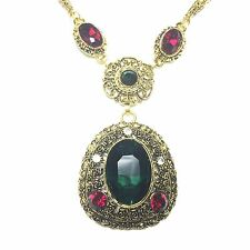 12.95 Ct Green Oval Emerald Ruby Pendant Necklace 14K Gold Filled Jewelry