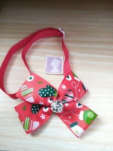 NEW DOG/CAT BOW TIE, ADJUSTABLE COLLAR, CHRISTMAS RED DOUBLE BOW. WITH GLOVES