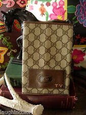 RARE Vintage GUCCI Notebook Agenda Book Cover TV Guide Accessory Brown GG RARE