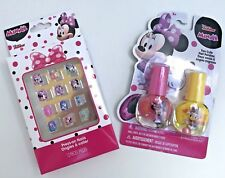 Minnie Mouse Nail Set Featuring  Press-on Nails and 2 Bottles of Nail Polish