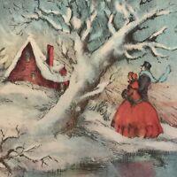 Vintage Art Deco Christmas Greeting Card Victorian Couple Snowy Winter Scene