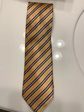 "STEFANO RICCI Mens 100% Silk 62"" Necktie ITALY STRIPED Orange/Blue - FLAW"