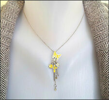 NEW PILGRIM SILVER CHAIN NECKLACE CRYSTAL YELLOW FLOWERS BUTTERFLIES CROSS CHARM