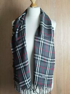 """Vtg Burberry London Scarf  Grey classic check 100% Lambswool Authentic 60""""x12"""""""