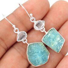 Aquamarine Rough & Herkimer Diamond 925 Silver Earrings Jewelry SE109386