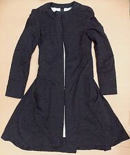 GARETH PUGH LADIES FLARE COAT GENUINE £1800+ BLACK LONG JACKET RARE TRENCH 8/10