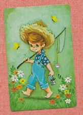 boy fishing pole playing card single swap JOKER - 1 card