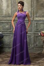 Neue lange Spitze Chiffon Perlen Abendkleid Ball Brautjungfer Kleid Größe 32-46