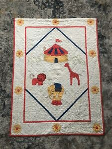 Vintage Handmade Child's Baby Quilt Embroidered Big Top Circus