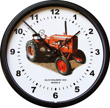 """New Allis Chalmers Model B Tractor Wall Clock 10"""" Round Vintage Red 3/4 View"""