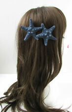 2 x Navy Blue Starfish Hair Clip Mermaid Beach Sea Shell Costume Fancy Dress W97