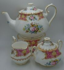 "Royal Albert ""Lady Carlyle"" Bone China Teapot Warmer Creamer Sugar with Lid"