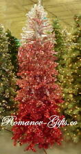 Ombre Burgundy shades to Ruby Red shades to Silver 7 ft Christmas Tree Prelit