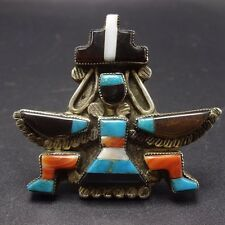 Vintage Signed ZUNI Sterling Silver KNIFEWING Inlay RING, sz 7.5 TURQUOISE CORAL
