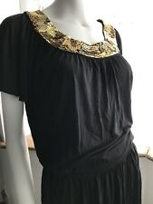 Biba ROMAN GODDESS Gold Sequin Collar Dress/Tunic UK 6/8 (US 2/4) LBD Black OO1