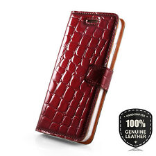 SURAZO® Premium Echtes Ledertasche Schutzhülle TPU Wallet Flip Case Rot - REPTIL