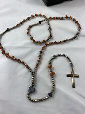 Sterling Pearls Amber Rosary/ Necklace Vtg Rare Navajo Native American