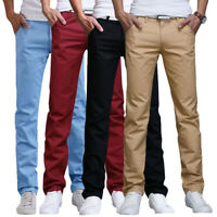 Fashion Men Slim Fit Straight-Leg Jeans Trousers Casual Pencil Business Pants