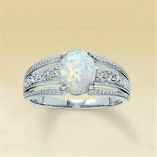 Charms 925 Sterling Silver White Fire Opal Rings Wedding Bridal Jewelry Sz 6-10