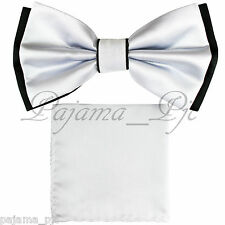 Wedding Black White Pre-tied Bow tie and White Pocket Square Hankie Two Layers