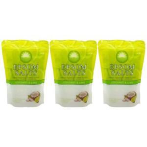 3X Elysium Spa Bath Salts Coconut & Lime Epsom Natural Magnesium Sulphate