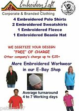 "PERSONALISED EMBROIDERED WORKWEAR UNIFORM ""FREE"" DIGITIZING OF YOUR LOGO PACK 9"