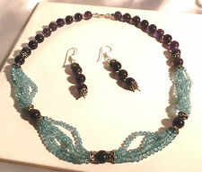 Natural amethyst and apatite necklace & earrings..285 carats