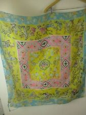 Vintage silk scarf rustic worn has holes as is hand rolled paper thin Asian